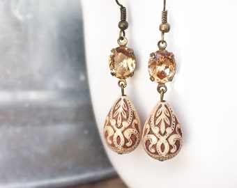 Carved Filigree Drop Earrings, Florentine, Ivory, Topaz, Neutral, Swarovski, Teardrop