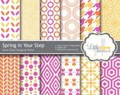 Spring Digital Paper, Digital Scrapbook Paper Pack, Neon Digital Paper, Pink Orange Yellow, Commercial Use, 8.5 x 11 12 x 12