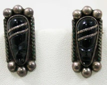 40s Warrior Earrings - Sterling Silver - Hecho En Mexico - 1940s - Artisan Made - Hand Carved - Black - Fierce Faces - Signed NF - 42579
