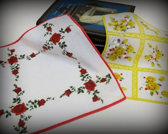 2 - Vintage Ladies Flowered Hankies