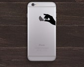 Holding an Apple, Hand Silhouette Vinyl iPhone Decal BAS-0246