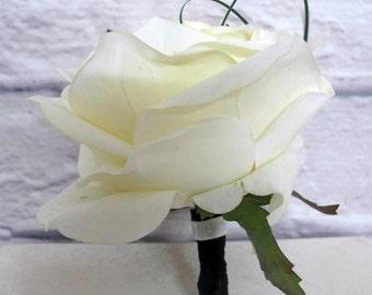 Mens silk boutonniere ivory rose groomsmen groom wedding accessories proms