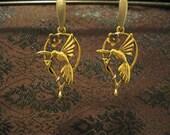 Golden hummingbird earrings