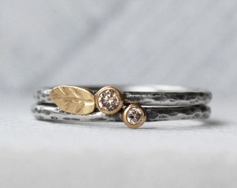 Natural Brown Diamond Leaf Ring Set - 18k Gold and Silver Stack Rings - Set of 2 Diamond Stack Rings - Eco-Friendly Recycled