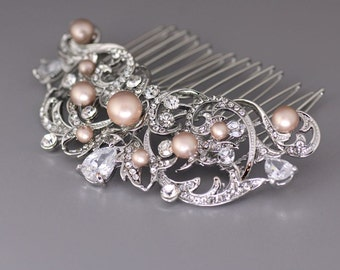 Crystal Bridal Hair comb, Vintage Wedding Hair Comb, Champagne hair comb, Bridal Hair Accessory, ROCIO