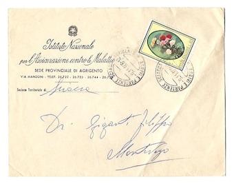 1966 Antique SICILIAN vintage circulated ENVELOPE - Fom Agrigento, 1966 - SICILY - Italian paper ephemera