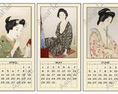 50 % OFF SALE 2016 Digital Calendar -- Printable Asian Art Japanese Women Digital Graphics Instant Downloads Printable Calendar  CAL 7