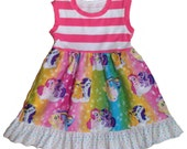 Girls Knit Tank Dress My Little Pony Rainbow Stripes
