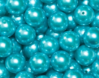 20mm Teal Faux Pearl Chunky Bubblegum Necklace Beads 10 ct - Chunky Beads