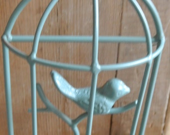 Bird Wall Hook, Upcycled Birdcage Wall Hook