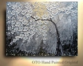 Abstract Painting - Abstract Wall art tree white Flowers canvas Painting Winter Art artwork Heavy Textured by OTO