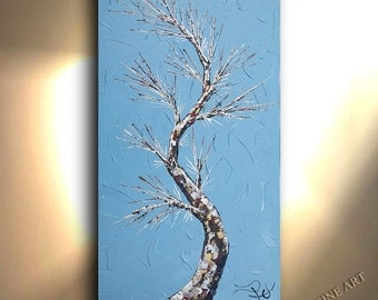ORIGINAL Tree Painting 24x48 Wedgewood Blue Vertical Hand painted Oil Painting Landscape Art Blue Artwork Fine art canvas by OTO