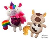 Unicorn ITH Embroidery Machine Pattern DIY Horse Softie Zebra Stuffie Plush Toy
