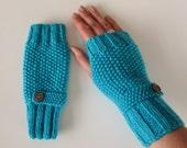 Fingerless Gloves in Turquoise Aran Wool