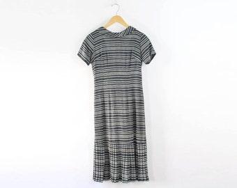 VINTAGE 1930s Striped Dress Drop Waist Grey