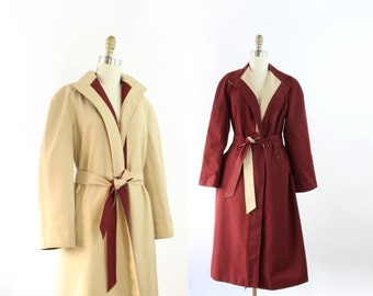 VINTAGE Reversible Trench Coat Belted Tan Burgundy