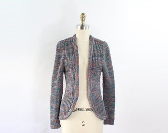 VINTAGE 1970s GIVENCHY Cardigan Sweater Blue Pink XS