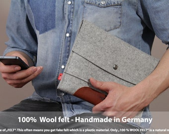 iPad Air / Air 2 with Apple Case or Keyborad, cover, sleeve, 100% Merino wool felt, vegetable tanned leather - Merino ME-T-ALB-0.6