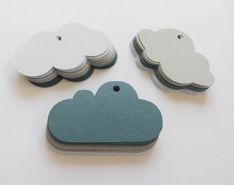 FREE SHIPPING - Recycled Cut-out Gift Tags - Just for a rainy day cloud tags