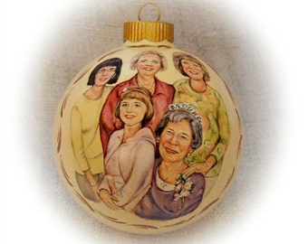 Mothers Day portrait painting ornaments, custom family portraits on 4 inch  Christmas glass ball ornaments