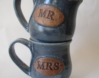 Mr. and Mrs. Couple Coffee Mugs in Blue