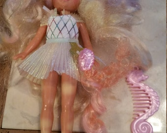 Vintage Mattel Lady Lovely Locks Original Outfit Comb and Shoes Pixietails Enchanted Island Line Fish
