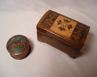 Starter Collection of 2 Handmade Russian Wood Trinket Boxes