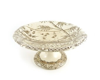 Antique brown transferware cake stand, Compote, Gildea & Walker, Melbourne, c. 1883, English Aesthetic Movement