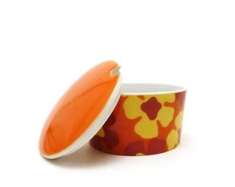 Orange & yellow floral sugar bowl - Trinket box - Ring keeper - Jewelry holder