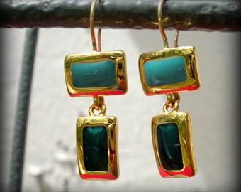 Light Blue Dark Blue Enamel Earrings