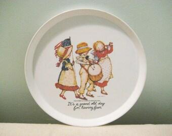 Vintage Plastic Holly Hobbie Patriotic Plate