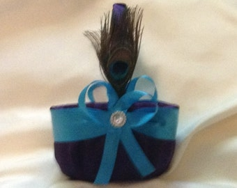 wedding flower girl basket turquoise and dark purple color custom made