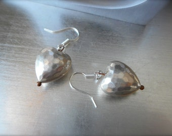 Hammered Silver Earrings, Vintage Metal Puffy Hearts, Patina'd Silver Heart, Antiqued Copper, Gift of Love, Old World, Boho, Modern.
