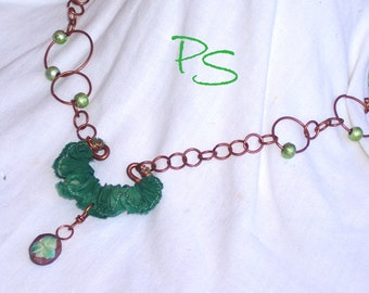 Shamrock necklace  - St. Patrick's, Irish, green, silk, upcycled, handmade copper chain, shard-ware, SRAJD - Erin Go Braugh by PyxeeStyx