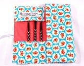 Make up brush roll- Turquoise floral flowers, UK shop