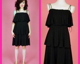Vintage Black 3 Tiered Ruffle Dress Size Medium
