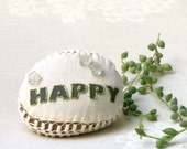 20& Off- Embroidery Message  Stone ,Happy, Rustic Art, Country decor Collectibles, Crochet  Stone, Paperweight, Shabby chic Decor,Doorstop.