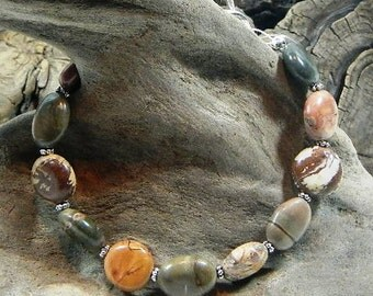 """Colorful Picasso jasper bracelet 8.5"""" long multicolored ovals semiprecious stone jewelry packaged in a gift bag 11018"""