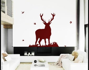 Deer Wall Decal Etsy - Window decals for birds canada