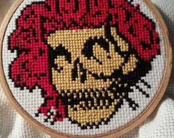 Grateful Dead Bertha Skull and Roses Cross Stitch Needlepoint Framed Art with Throw Pillow Option