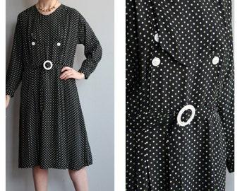 1920s/1930s Dress // Maris Polka Dot Dress // vintage 30s rayon dress