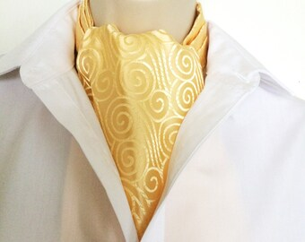 Ascot Tie Cravat .Brocade. Butter yellow. Formal. For special occasions