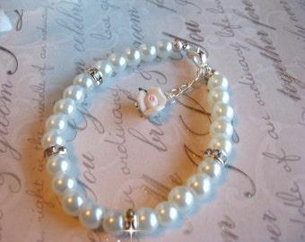 Custom Flower Girl Pearl and  Rhinestone Porcelain Flower Bracelet/ Flower Girl Jewelry / Children's Pearl Jewelry/Junior Bridesmaid