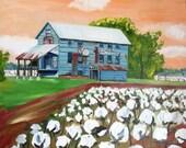 The Cotton Gin | 11 x 14 print of original oil painting | Country Farm Rural Art | Louisiana Artist Kristi Jones | cotton field bolls