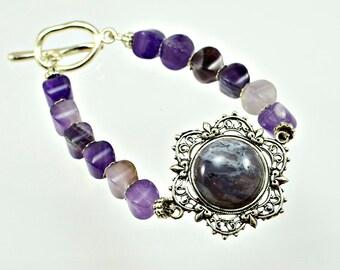 Amethyst Cabochon Bracelet - Beaded Bracelet