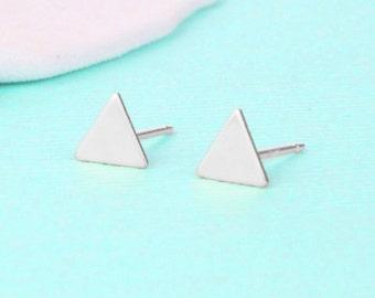 Modern Triangle Earrings - Sterling Silver - Stud Earrings - Triangle Jewelry