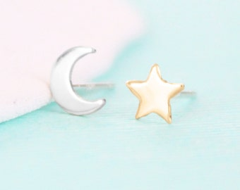 Silver Moon and Gold Star Earrings - Night Sky