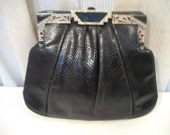 JUDITH LEIBER Black Snakeskin Swarovski Crystal Deco Evening Bag Handbag/Clutch