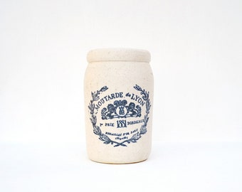 French stoneware mustard crock jar antique pottery Moutarde de Lyon 1881 Prix Bordeaux Medailles D'or Paris vintage advertising crock pot