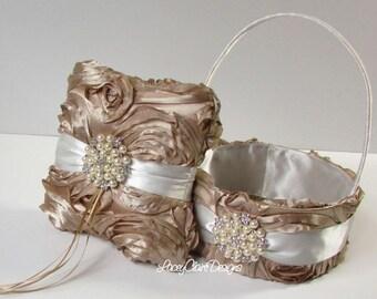Ring Bearer Pillow & Flower Girl Basket Custom Made Champagne Gold Rosette and Pearls